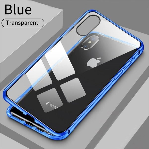 Metal Magnetic Case For iPhone (Tempered Glass)
