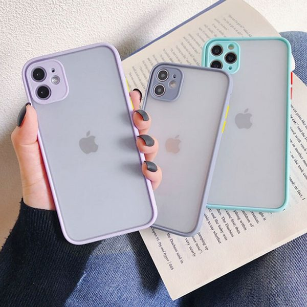 Shockproof Silicone Protection Phone Case on For iPhone Xr Xs Max X Xs SE 2020 10 11 Pro 8 7 6s Plus Candy Color Back Cover Gift