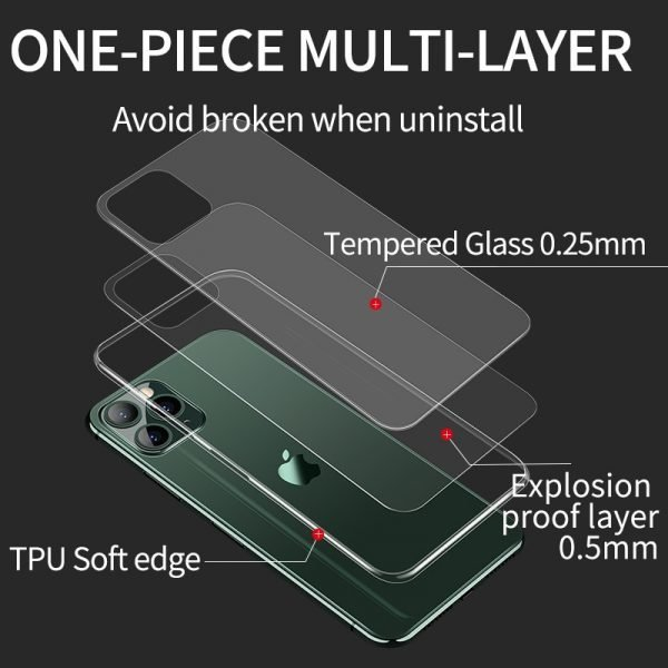 Luxury Glass Case For iPhone 11 12 Pro Max Cases Soft Edge Ultra Thin Transparent Glass